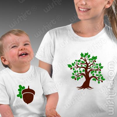 T-shirts a combinar Mãe e Bebé Carvalho e Bolota - Prenda Dia da Mãe