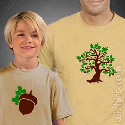 T-shirts a combinar Pai e Filho Carvalho Bolota, Prenda Dia do Pai
