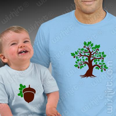 T-shirts a combinar Pai e Bebé Carvalho Bolota, Prenda Dia do Pai