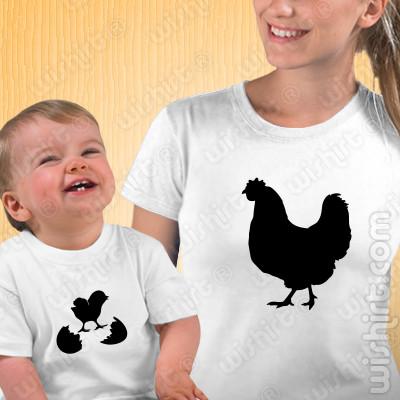 T-shirts a combinar Mãe Galinha - Bebé, Prenda Dia da Mãe