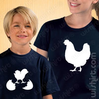 T-shirts Mãe e Filho(a) a combinar Mãe Galinha, Prenda Dia da Mãe