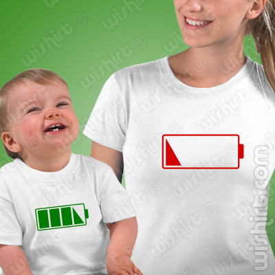 Conjunto de duas t-shirts Sem Bateria Mãe e Bebé, Prenda Dia da Mãe