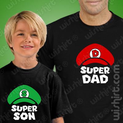 Conjunto de t-shirts Super Mario para Pai e Filho, Prenda Dia do Pai