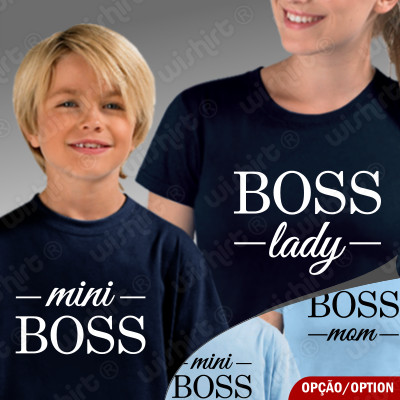 Conjunto duas t-shirts Boss Lady e Mini Boss Criança Mãe e Filho(a)