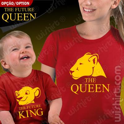 Conjunto de duas T-shirts The Queen The Future King / Queen Mãe Bebé