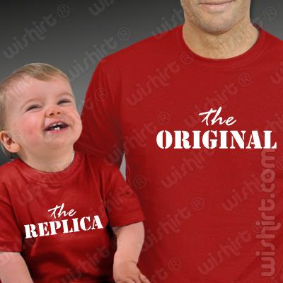 T-shirts a combinar The Original The Replica para Pai e Filho Bebé