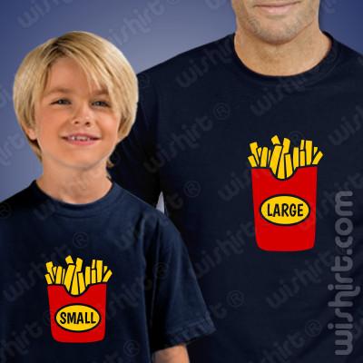 Conjunto de T-shirts Chips Large Small Criança para Pai e Filho(a)