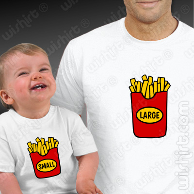 T-shirts Chips Large Small para Pai e Filho Bebé Roupa a Combinar