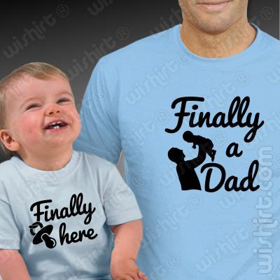 Vestuário a Combinar Pai e Filho Bebé - Finally a Dad - Finally Here
