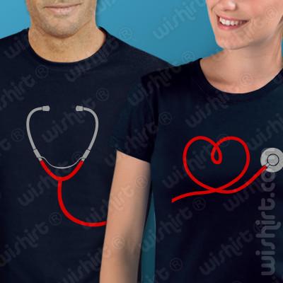 T-shirts Estetoscópio. Conjunto de 2 tshirts Dia do Namorados