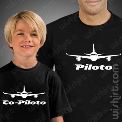 Tshirts a combinar Piloto Co-piloto Aviões Criança para Pai e Filho
