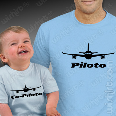 T-shirts a combinar Piloto Co-piloto Aviões para Pai e Bebé