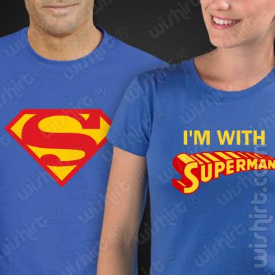 T-shirts personalizadas para namorados I'm with Superman | Conjunto
