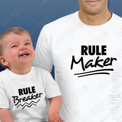Conjunto t-shirts Pai e Bebé Rule Maker - Breaker - Prenda Dia do Pai