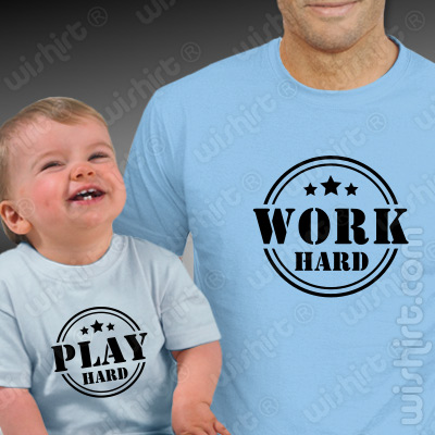 Conjunto de t-shirts a condizer para Pai e Bebé Work Hard - Play Hard