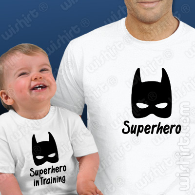 Conjunto t-shirts Pai e Bebé Superhero in Training - Prenda para Pai