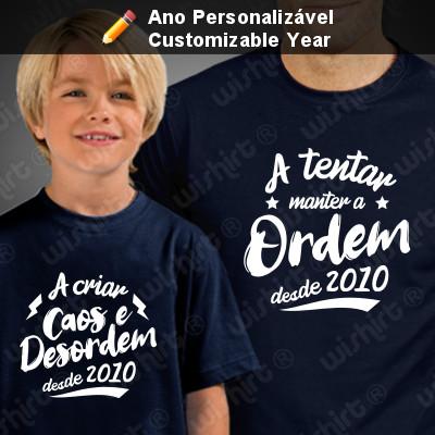 Caos e Desordem - Conjunto de t-shirts Pai e Filho - Prenda para o Pai