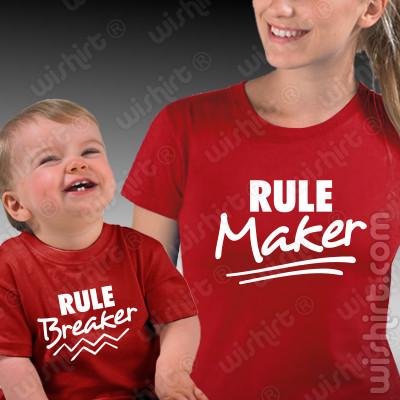 Conjunto t-shirts a combinar Mãe e Bebé - Rule Maker Rule Breaker