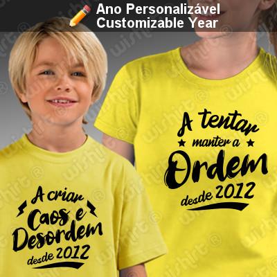 T-shirts a combinar Mãe Filho(a) - Caos e Desordem - Prenda Dia da Mãe