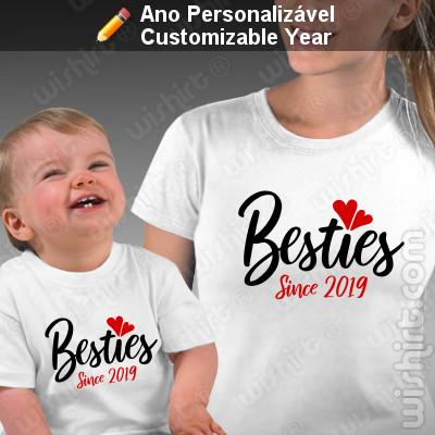 T-shirts personalizadas a combinar para Mãe e Bebé Besties Since