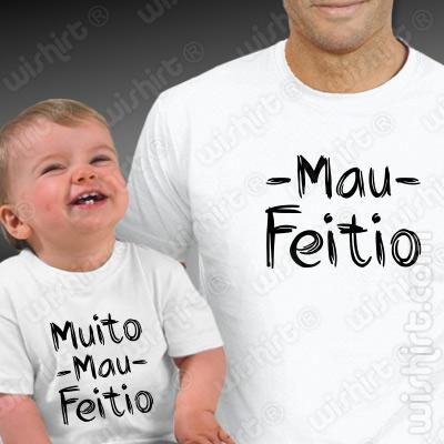 T-shirts a condizer para Pai e Bebé Mau Feitio