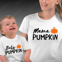 T-shirts Mama Pumpkin Baby Pumpkin Mãe - Bebé