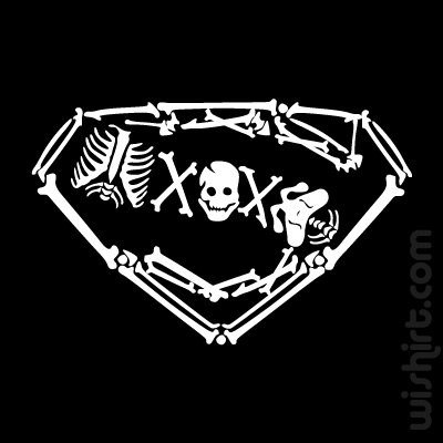 T-shirt Superman Bones, Skeleton, Super Homem Ossos