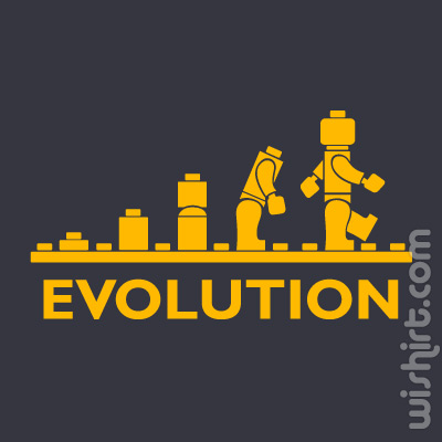 T-shirt Lego Evolution, Evolução do Lego