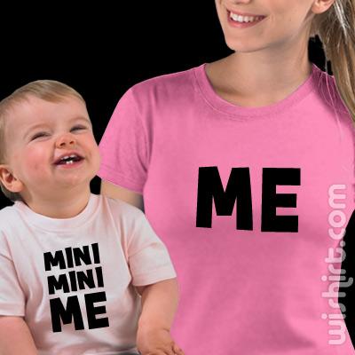 T-shirts Mini Mini Me - Mãe, Conjunto de uma t-shirt de mulher + uma t-shirt de bebé