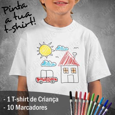 T-shirts para as Crianças Desenharem com 10 Marcadores Incluídos