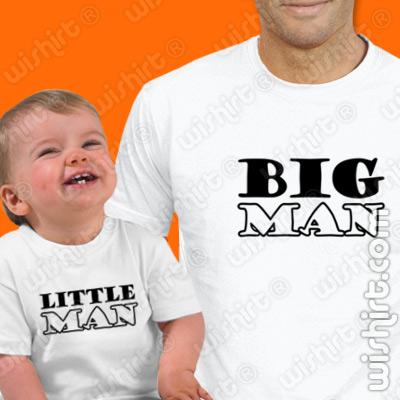 T-shirts para o Pai e Bebé Big Man Little Man - Prenda para o Pai