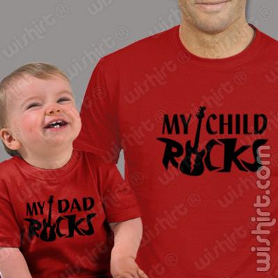 T-shirts My Father/Child Rocks Pai/Bebé, Especial Dia do Pai. Conjunto de uma t-shirt de homem + uma t-shirt de bebé