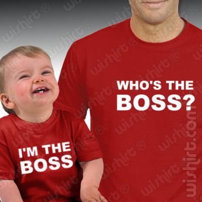 T-shirts Who's the Boss Pai/Bebé, Especial Dia do Pai. Conjunto de uma t-shirt de homem + uma t-shirt de bebé