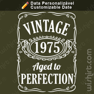 T-shirt Vintage Aged to Perfection, Ano Personalizável