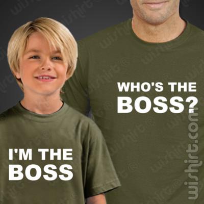 T-shirts Who's the Boss - Pai/Filho, Conjunto de uma t-shirt de homem + uma t-shirt de criança