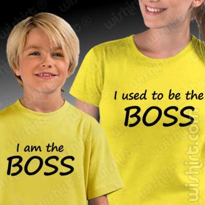 T-shirts I used to be the Boss - Mãe, Conjunto de uma t-shirt de mulher + uma t-shirt de criança