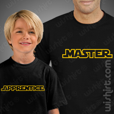 T-shirts Master Apprentice - Pai/Filho, Conjunto de uma t-shirt de homem + uma t-shirt de criança