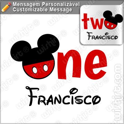 T-shirt Bebé Mickey One Two - Mensagem e Nome Personalizável