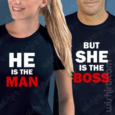 Conjunto 2 t-shirts He is the Man but She is the Boss. Conjunto de 2 tshirts edição especial São Valentim, Homem e Mulher