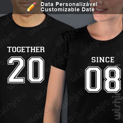 Conjunto 2 t-shirts Together Since Data Personalizável. Conjunto de 2 tshirts edição especial São Valentim, Homem e Mulher