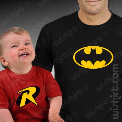 T-shirts a combinar Pai Batman e Bebé Robin - Prenda dia do Pai