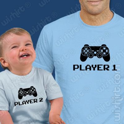 T-shirts Player - Bebé, Conjunto de uma t-shirt de homem + uma t-shirt de bebé