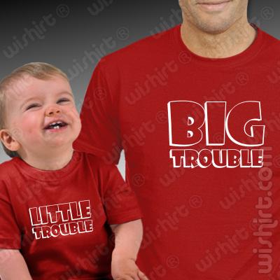 T-shirts Pai e Bebé Big Trouble Little Trouble - Prenda Dia do pai