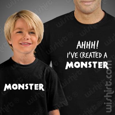 T-shirts a combinar para Pai e Filho Created a Monster - Dia do Pai