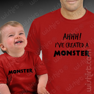 T-shirts a combinar para Pai e Bebé Created a Monster - Dia do Pai