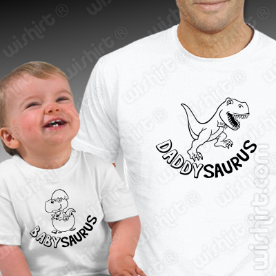 T-shirts a combinar Pai e Bebé Daddysauros Babysaurus - Dia do Pai