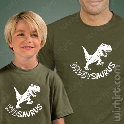 T-shirts a combinar Pai e Filho Daddysauros Kidsaurus - Dia do Pai