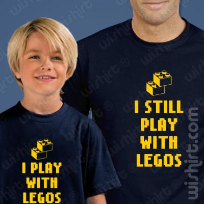 T-shirts Play With Legos - I Still Play With Legos Criança, Conjunto de uma t-shirt de homem + uma t-shirt de criança