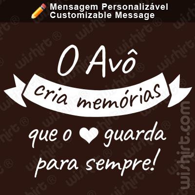 T-shirt O Avô / Pai / Padrinho cria memórias que o coração guarda para sempre. Mensagem Personalizável