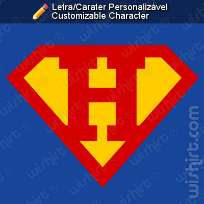 T-shirt Superman Letra/carater Personalizável. Superman Inicial. Super Nome